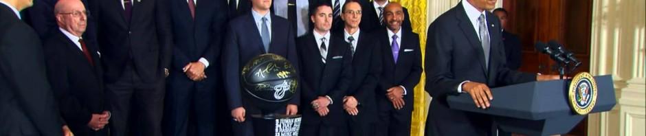 Il Presidente Obama riceve alla Casa Bianca i campioni NBA dei Miami Heat